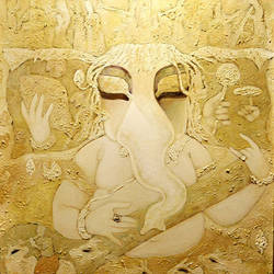 vinayaka, 36 x 42 inch, subrata ghosh,ganesha paintings,paintings for living room,religious paintings,canvas,acrylic color,36x42inch,GAL04021051,vinayak,ekadanta,ganpati,lambodar,peace,devotion,religious,lord ganesha,lordganpati