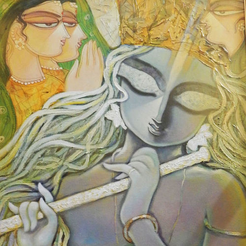 offering, 20 x 36 inch, subrata ghosh,figurative paintings,paintings for dining room,radha krishna paintings,canvas,acrylic color,20x36inch,GAL04021052