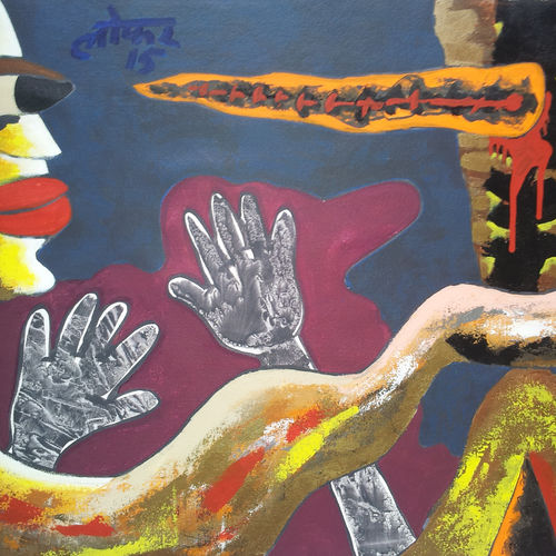 blindmeditation-1, 39 x 29 inch, yashpal gambhir,paintings,abstract paintings,paintings for living room,canvas,acrylic color,39x29inch,GAL0446710528