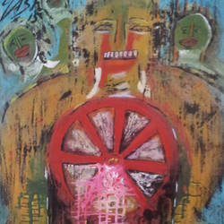 kaal chakr'war to war', 29 x 39 inch, yashpal gambhir,paintings,abstract paintings,paintings for living room,canvas,acrylic color,29x39inch,GAL0446710532