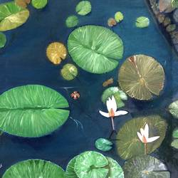 lotus in green pond, 24 x 24 inch, sonali sanpui,paintings,flower paintings,paintings for living room,canvas,oil,24x24inch,GAL0151410533