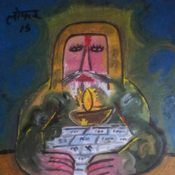 modren meditation 'the double game', 37 x 38 inch, yashpal gambhir,paintings,abstract paintings,paintings for living room,canvas,acrylic color,37x38inch,GAL0446710534