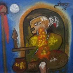 power of meditation, 36 x 38 inch, yashpal gambhir,paintings,abstract paintings,paintings for living room,canvas,acrylic color,36x38inch,GAL0446710545