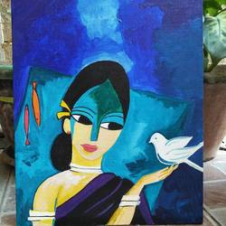 talking bird, 10 x 12 inch, chandni mishra,paintings,figurative paintings,paintings for living room,canvas,acrylic color,10x12inch,GAL0139910547