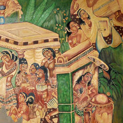 ajanta  mahajanak jataka panel, 78 x 54 inch, dinesh baukhandi,buddha paintings,paintings for living room,canvas,oil,78x54inch,GAL0459710548