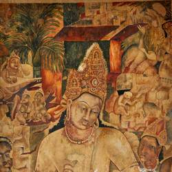 ajanta- bodhisatva padmapani, 54 x 90 inch, dinesh baukhandi,conceptual paintings,paintings for living room,paper,watercolor,54x90inch,GAL0459710551