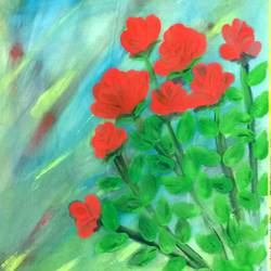 red rose bouquet, 8 x 11 inch, suganya naveenkumar,paintings,portrait paintings,paintings for living room,thick paper,poster color,8x11inch,GAL0456310552