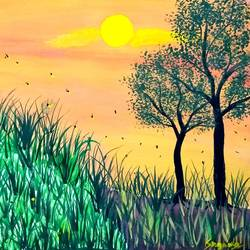 fireflies during sunset, 8 x 11 inch, suganya naveenkumar,paintings,nature paintings,paintings for living room,thick paper,poster color,8x11inch,GAL0456310554Nature,environment,Beauty,scenery,greenery,grasses,trees,sun,birds