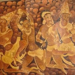 an dance sequence from ellora caves, 47 x 30 inch, dinesh baukhandi,paintings for living room,folk art paintings,paper,watercolor,47x30inch,GAL0459710555
