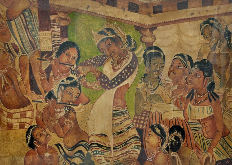 a dance sequence from ajanta caves, 37 x 27 inch, dinesh baukhandi,paintings,conceptual paintings,paintings for living room,paper,watercolor,37x27inch,GAL0459710556