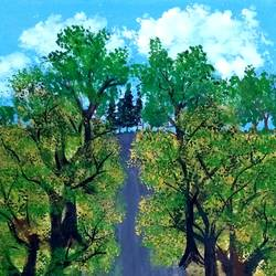 peaceful path with trees on both sides, 8 x 11 inch, suganya naveenkumar,paintings,realistic paintings,paintings for living room,thick paper,poster color,8x11inch,GAL0456310557