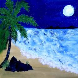 beach night view, 13 x 10 inch, suganya naveenkumar,paintings,conceptual paintings,paintings for living room,thick paper,poster color,13x10inch,GAL0456310559