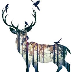 Deer with birds 1 art print by Gallerist