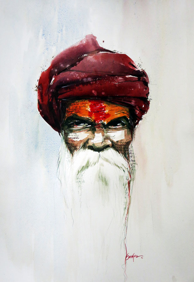 holy man, 21 x 15 inch, sankar thakur,portrait paintings,paintings for living room,fabriano sheet,watercolor,21x15inch,GAL07106