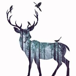 Deer with birds 2 art print by Gallerist