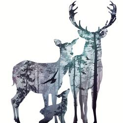 Three Deer 2  art print by Gallerist