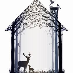Deer in shelter 1 art print by Gallerist