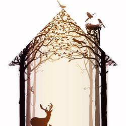 Deer in shelter 2 art print by Gallerist