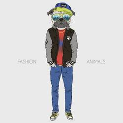 Stylish pug. art print by Gallerist