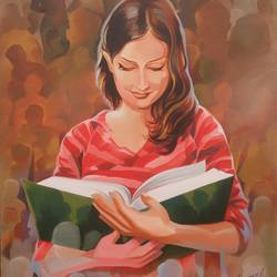 books is good friends , 24 x 36 inch, roja lawrence,abstract expressionist paintings,paintings for office,canvas,acrylic color,24x36inch,GAL04381065