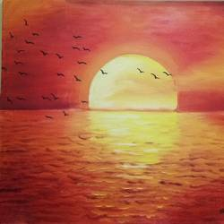 sunset, 20 x 24 inch, shruti kapoor,paintings,paintings for living room,paintings for office,paintings for hotel,paintings for living room,paintings for office,paintings for hotel,landscape paintings,paintings for dining room,canvas,oil paint,20x24inch,GAL0224010679