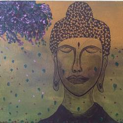 buddha, 14 x 18 inch, swati verma,paintings,buddha paintings,paintings for living room,paintings for bedroom,paintings for office,canvas,acrylic color,14x18inch,religious,peace,meditation,meditating,gautam,goutam,buddha,lord,face,flowers,GAL0422610683