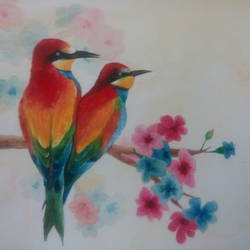 birds in spring, 10 x 10 inch, himanshi baid,wildlife paintings,paintings,ivory sheet,watercolor,10x10inch,GAL03951069