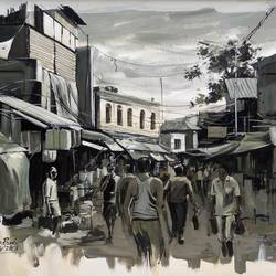 market place, 30 x 20 inch, krishnapada paul,paintings,cityscape paintings,paintings for dining room,paintings for office,canvas,acrylic color,30x20inch,GAL0264510690