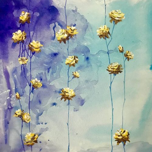 happy flowers, 40 x 28 inch, priyanka dutt,paintings,flower paintings,canvas,acrylic color,40x28inch,GAL087910692