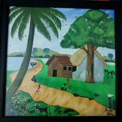 village life, 20 x 20 inch, parmjit kaur,folk art paintings,paintings for dining room,paintings for living room,paintings for bedroom,paintings for bathroom,paintings for kids room,canvas,acrylic color,20x20inch,GAL0461710703