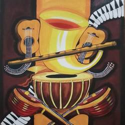 musical instruments with lord ganesha, 18 x 24 inch, sandhya kumari,paintings,art deco paintings,ganesha paintings,paintings for dining room,paintings for living room,paintings for dining room,paintings for living room,canvas,acrylic color,18x24inch,GAL0365910707,vinayak,ekadanta,ganpati,lambodar,peace,devotion,religious,lord ganesha,lordganpati