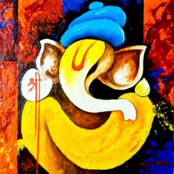 ganesha, 20 x 20 inch, harshit saboo,modern art paintings,religious paintings,abstract expressionist paintings,art deco paintings,ganesha paintings,contemporary paintings,paintings for dining room,paintings for living room,paintings for bedroom,paintings for office,paintings for kids room,paintings for hotel,paintings for kitchen,canvas,acrylic color,mixed media,20x20inch,GAL0462510710,vinayak,ekadanta,ganpati,lambodar,peace,devotion,religious,lord ganesha,lordganpati,ganpati,ganesha,lord ganesh,elephant god,religious,ganpati bappa morya,ladoo,sweets,ganpati bappa morya,ganesh chaturthi,ganesh murti,elephant god,religious,lord ganesh,ganesha,om,hindu god,shiv parvati, putra,bhakti,blessings,aashirwad,pooja,puja,aarti,ekdant,vakratunda,lambodara,bhalchandra,gajanan,vinayak,prathamesh,vignesh,heramba,siddhivinayak,mahaganpati,omkar,mushak,mouse,ladoo,modak