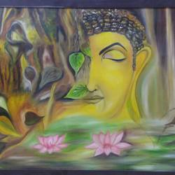 lord buddha in peace , 36 x 24 inch, amit sharma,buddha paintings,paintings for dining room,paintings for living room,paintings for bedroom,paintings for office,paintings for hotel,paintings for dining room,paintings for living room,paintings for bedroom,paintings for office,paintings for hotel,canvas board,acrylic color,oil,36x24inch,religious,peace,meditation,meditating,gautam,goutam,buddha,yellow,lotus,GAL0463410718