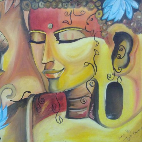 smiling lord buddha , 24 x 18 inch, amit sharma,buddha paintings,paintings for dining room,paintings for living room,paintings for bedroom,paintings for office,paintings for hotel,canvas board,acrylic color,oil,24x18inch,religious,peace,meditation,meditating,gautam,goutam,buddha,lord,yellow,face,GAL0463410720