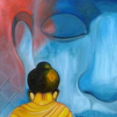 lord buddha, 24 x 36 inch, amit sharma,paintings,buddha paintings,paintings for dining room,paintings for living room,paintings for bedroom,paintings for office,canvas board,acrylic color,oil,24x36inch,religious,peace,meditation,meditating,gautam,goutam,buddha,lord,monk,blue,blessing,GAL0463410724