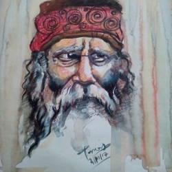 rabindranath tagor, 11 x 15 inch, tanay malakar,paintings,portrait paintings,paper,mixed media,11x15inch,GAL0464010728