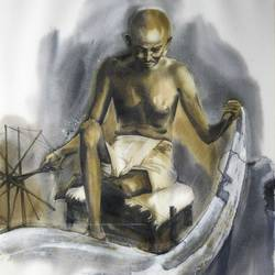 gandhi ji - unforeseen, 30 x 22 inch, ashis kumar das,conceptual paintings,paintings for living room,fabriano sheet,watercolor,30x22inch,GAL04451073