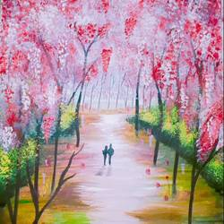 nature walk, 8 x 11 inch, disha shenoy,paintings,nature paintings,paintings for dining room,paintings for living room,paper,acrylic color,watercolor,8x11inch,GAL0403310732Nature,environment,Beauty,scenery,greenery,nature walk,people