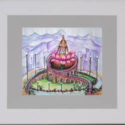 temple on lotus, 24 x 22 inch, bansi lal ketki,paintings,conceptual paintings,paintings for living room,paintings for living room,paper,pencil color,24x22inch,GAL0464110733