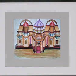 pandal, 24 x 22 inch, bansi lal ketki,paintings,conceptual paintings,paintings for living room,paper,pencil color,24x22inch,GAL0464110734