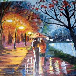 beauty of evening, 15 x 11 inch, rimi chowdhury,paintings,nature paintings,thick paper,oil,15x11inch,GAL0464210735Nature,environment,Beauty,scenery,greenery,beauty,together,rains,trees,boy,girl,streetlights