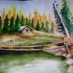 nature of autumn, 14 x 11 inch, rimi chowdhury,paintings,nature paintings,renaissance watercolor paper,watercolor,14x11inch,GAL0464210736Nature,environment,Beauty,scenery,greenery
