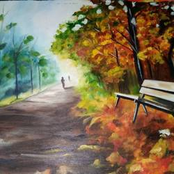 morning in winter, 14 x 11 inch, rimi chowdhury,paintings,nature paintings,thick paper,oil,14x11inch,GAL0464210737Nature,environment,Beauty,scenery,greenery,bench,morning,winter