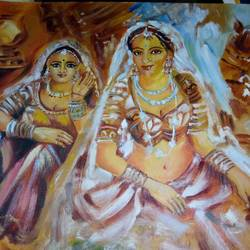 rajasthan's women, 14 x 11 inch, rimi chowdhury,paintings,figurative paintings,thick paper,oil,14x11inch,GAL0464210738