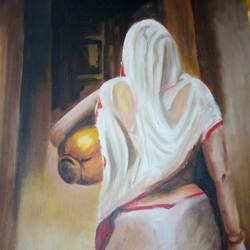 a woman, 11 x 14 inch, rimi chowdhury,paintings,figurative paintings,thick paper,oil,11x14inch,GAL0464210741