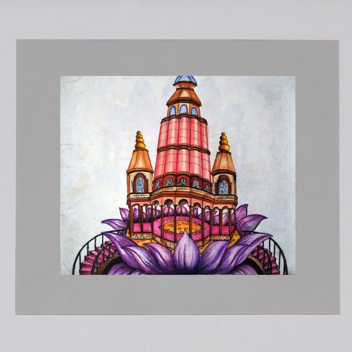 temple on lotus, 24 x 22 inch, bansi lal ketki,paintings,conceptual paintings,paintings for living room,paper,pencil color,24x22inch,GAL0464110743