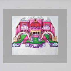 festive pandal, 24 x 22 inch, bansi lal ketki,paintings,conceptual paintings,paintings for living room,paintings for living room,paper,pencil color,24x22inch,GAL0464110744