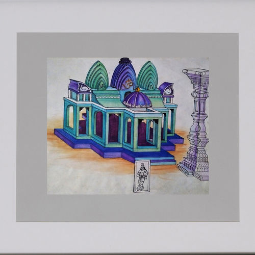 blue temple, 24 x 22 inch, bansi lal ketki,paintings,conceptual paintings,paintings for living room,paper,pencil color,24x22inch,GAL0464110746