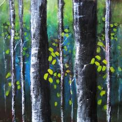 blue green forest, 15 x 27 inch, solina kumar,nature paintings,paintings for dining room,paintings for living room,paintings for office,paintings for hotel,canvas,acrylic color,15x27inch,GAL0465110751Nature,environment,Beauty,scenery,greenery