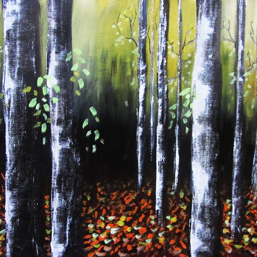 birch forest, 27 x 22 inch, solina kumar,paintings,landscape paintings,nature paintings,paintings for dining room,paintings for living room,paintings for office,paintings for hotel,canvas,acrylic color,27x22inch,GAL0465110752Nature,environment,Beauty,scenery,greenery